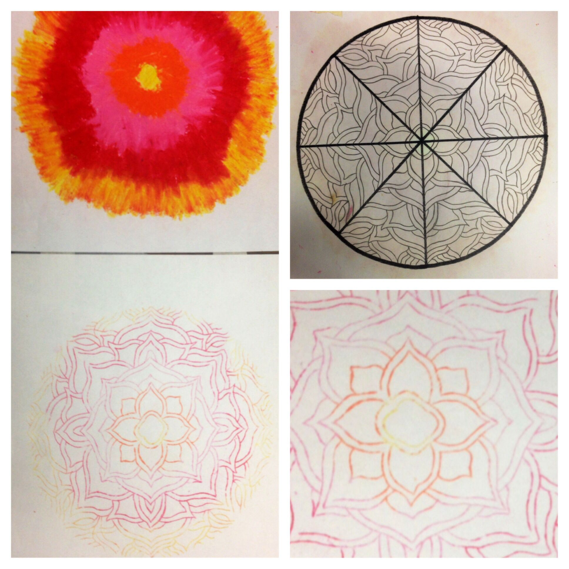 Oil Print And Radial Symmetry We Designed A Gridded Circle And Created A Symmetrical Design Next We Filled Kids Canvas Art Art Therapy Projects Teaching Art