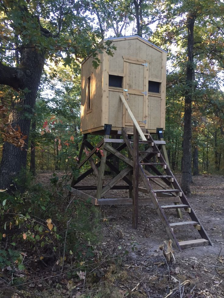 A Blind With Stairs For My Wife To Climb On Deer Hunting Stands Hunting Stands Whitetail Deer Hunting
