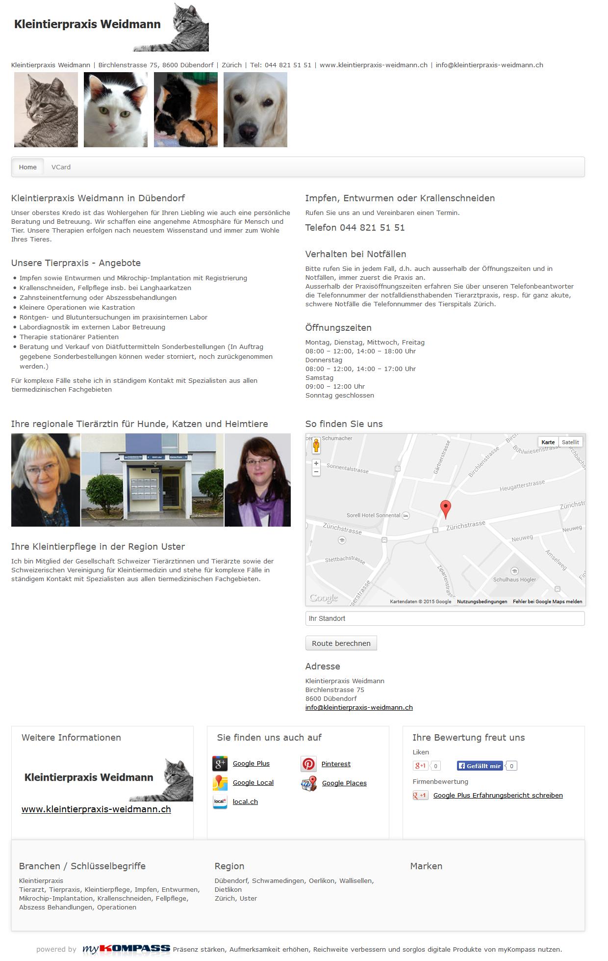 Kleintierpraxis Weidmann, Dübendorf, Tierarzt, Tierpraxis, Kleintierpflege