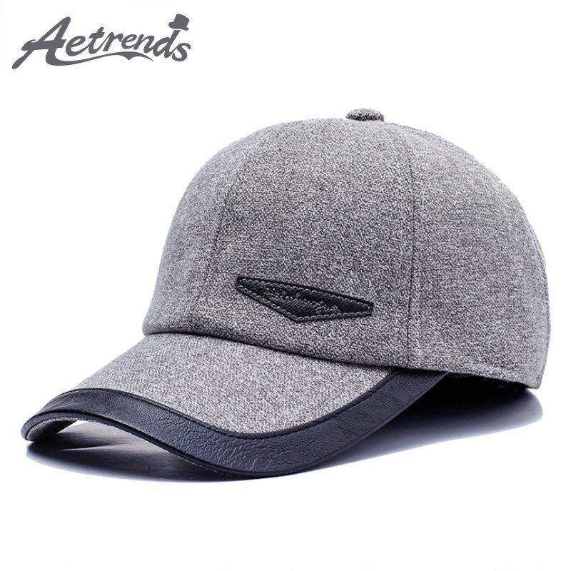 291bec66c37  AETRENDS  Mens Accessories 2018 Autumn Winter Baseball Cap Men Warm with  Earflaps Bone Masculino