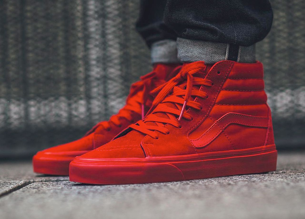 Vans Sk8-Hi Mono - True Red (by titolo) Get it at... – Sweetsoles –  Sneakers f7974fecbc