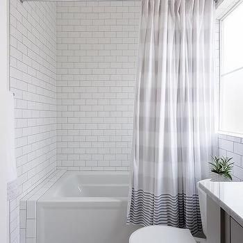 Gray Stripe Shower Curtain at Drop In Bathtub tile ideas for