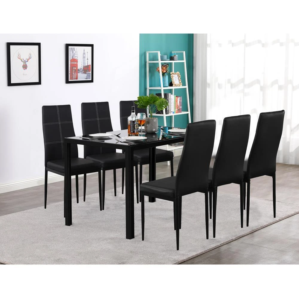 Zimtown New Modern 7 Pcs Dining Table Set With 6 Leather Chairs