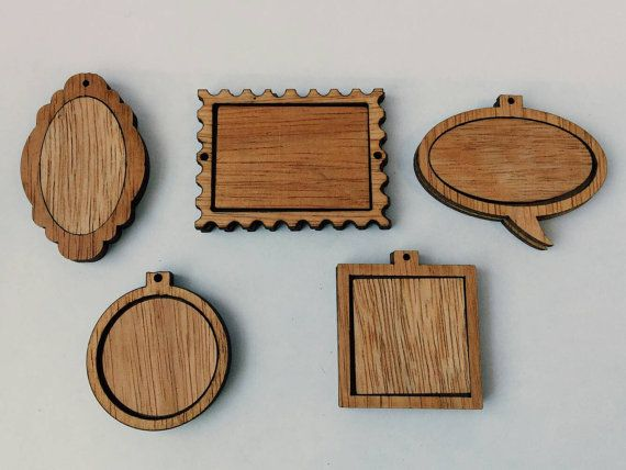 Small Wooden Frame Pendants For Diy Pendant Xmas Ornament