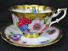 ROYAL ALBERT GOLD CREST ANEMONE PUFFY FLUTED TEA CUP AND SAUCER