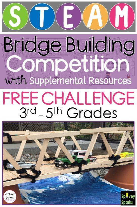 Bridge Building STEM Challenge FREE #stemactivitieselementary