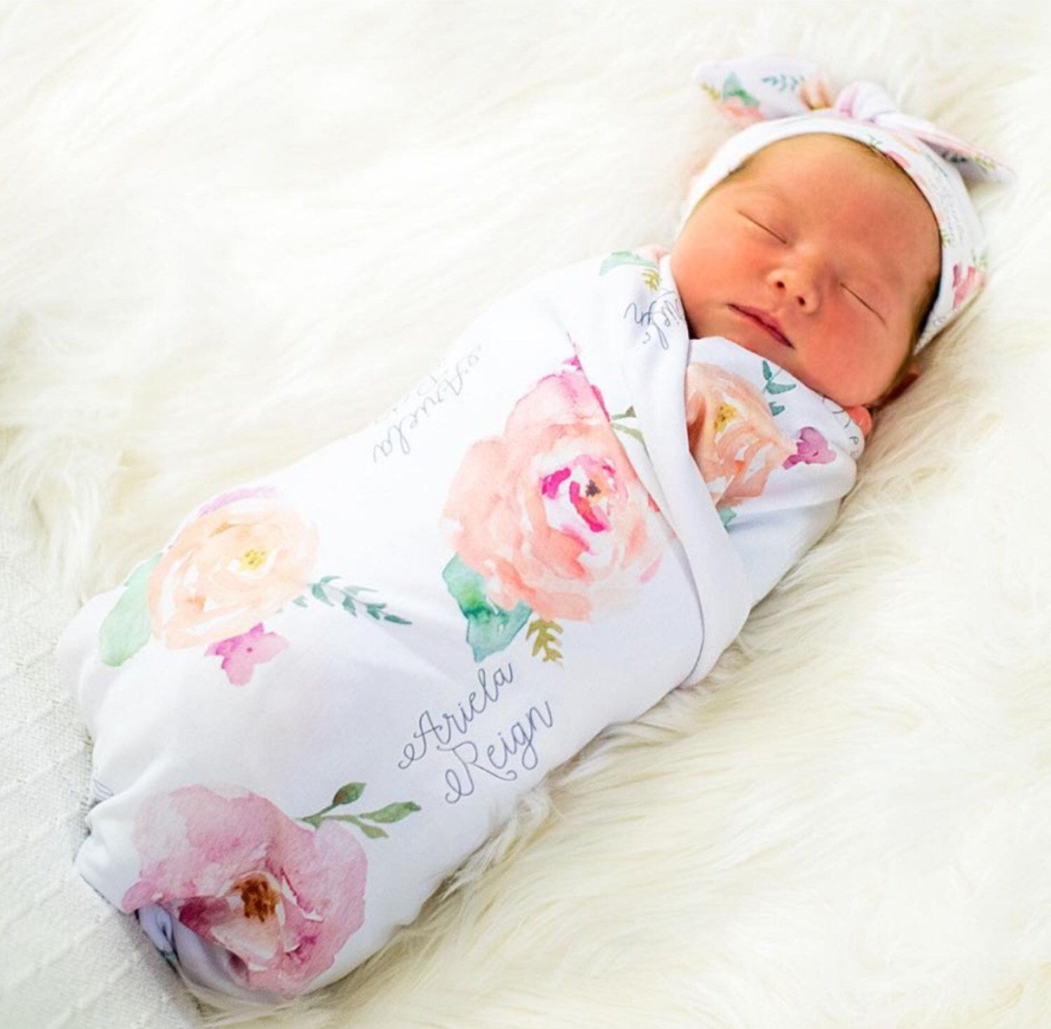 Floral baby blanket personalized swaddle pink peonies photo prop pretty peony personalized floral baby swaddle floral baby blanket floral receiving blanket floral baby name blanket baby shower gift by agreatbaby on negle Images
