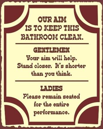 Our Aim Bathroom Clean Vintage Metal Restroom Toilet Sign Wall Art ...