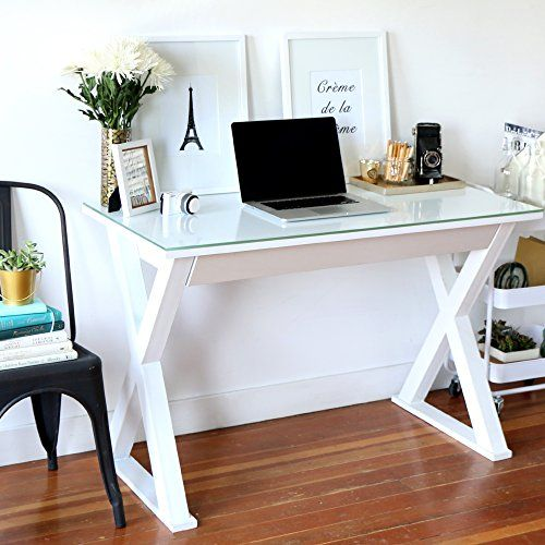 48 Inch Wide White Glass, Metal and Wood X Framed Desk Home Accent