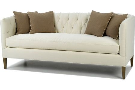 emma tufted sofa romano bench seating old hollywood regency glamour glam stylish natural linen