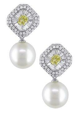 18K White Gold 10-11mm South Sea Pearl, Yellow & White Diamond Dangling Earrings
