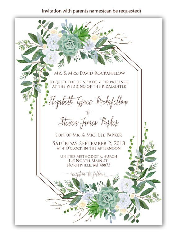 f3a26d73c781 Geometric Succulent Greenery Eucalyptus White Roses Floral Wedding  Invitation Set Wedding Welcome si
