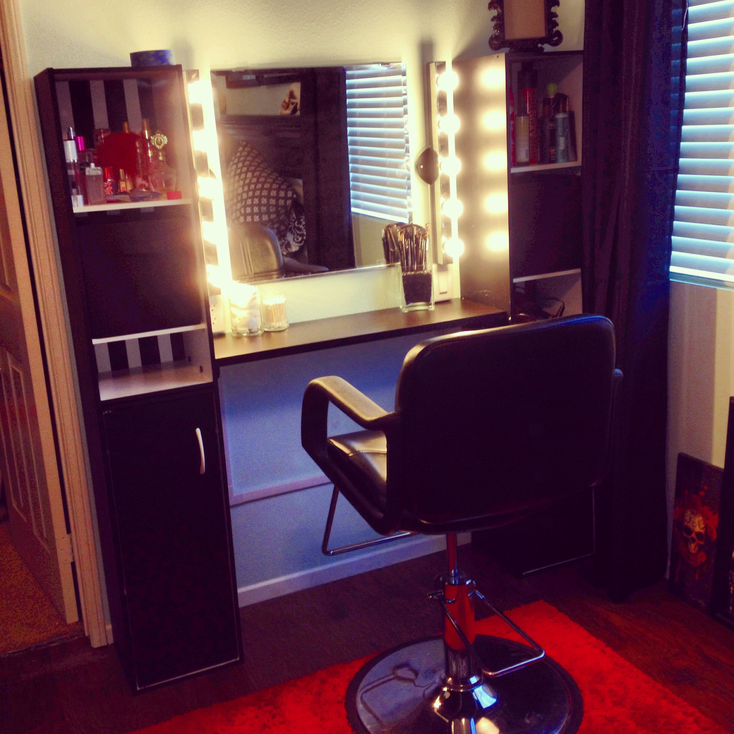 Megan's DIY vanity, lights, makeup bench, home salon For