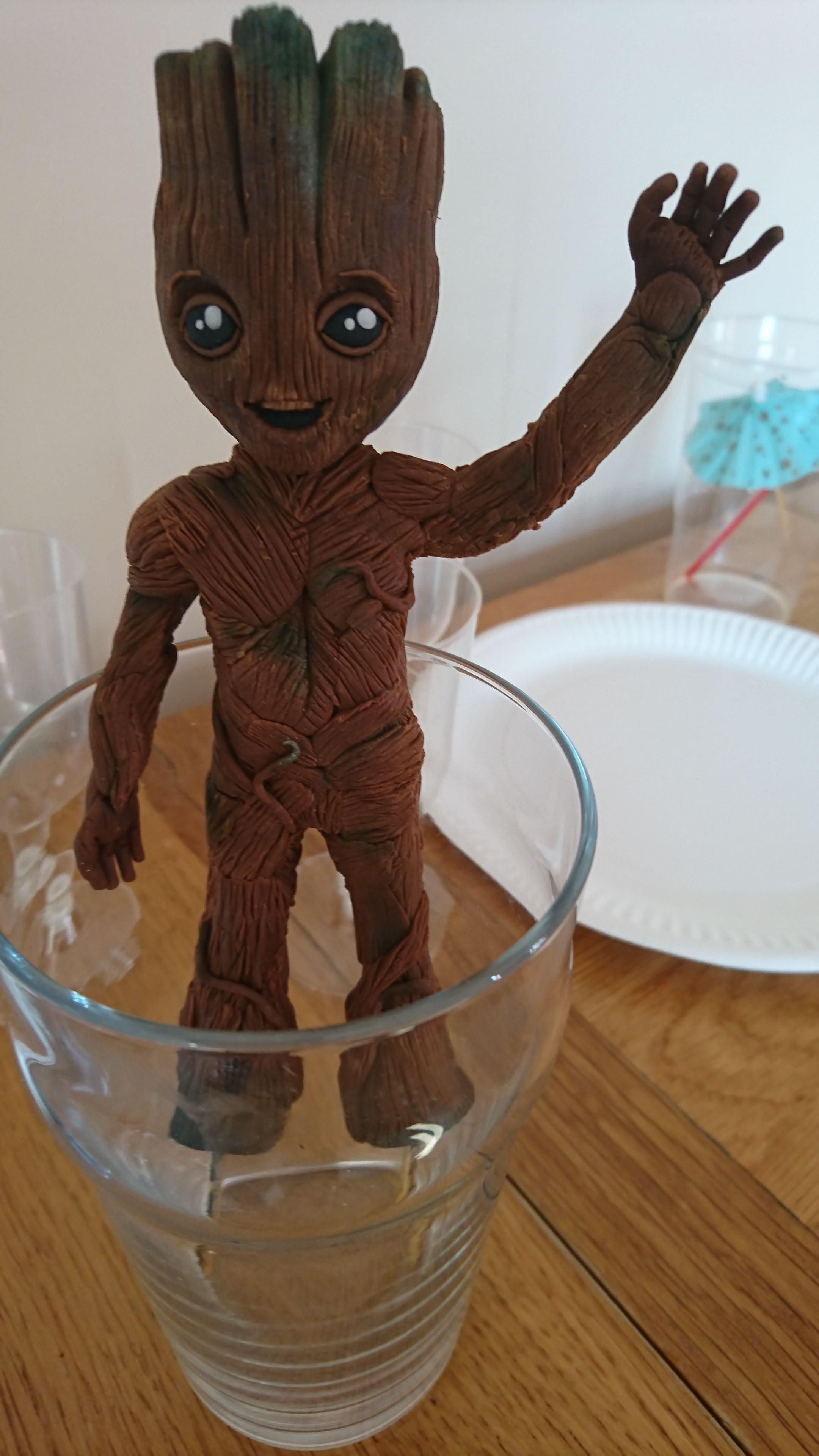 [Homemade] Baby Groot Cake Topper Made From Icing And Wire