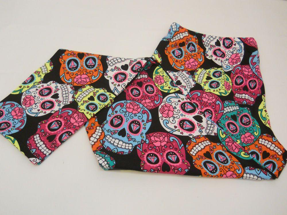 Women Skull Leggings SIZE L Multi Colored Skulls Skinny Legs Mid Rise Inseam 29 #NoBoundaries #ANKLELEGGING #HALLOWEEN
