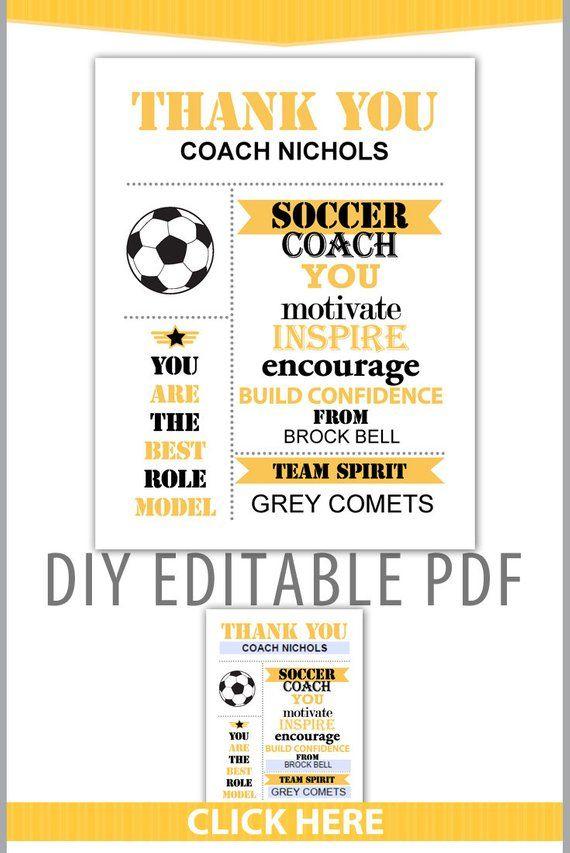 Editable PDF Sports Team Soccer Thank You Coach Certificate Subway