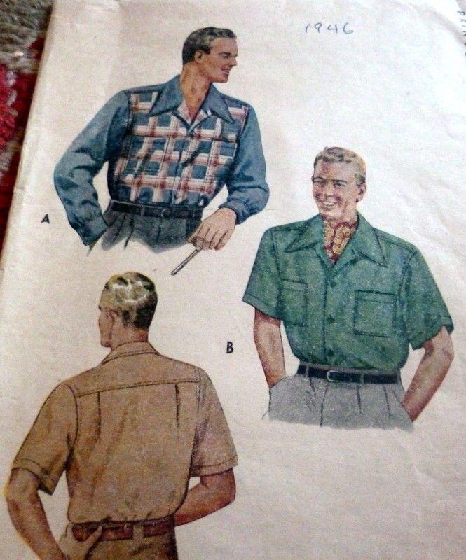 "Vintage 1940/'s Sewing Pattern Men/'s Shirt  WW2 Neck 14.5/"" Detachable Collar"