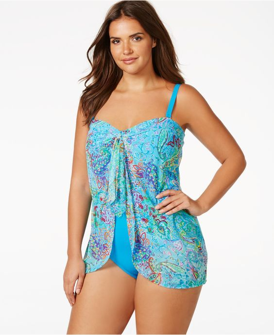 lauren ralph lauren plus size printed flyaway one-piece swimsuit