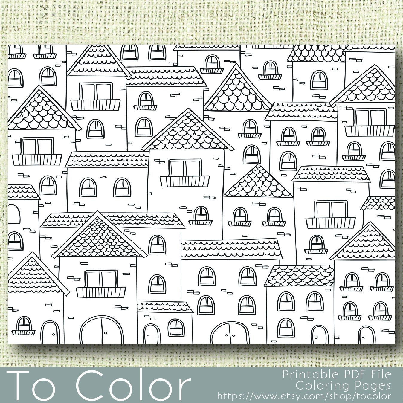 Printable Houses Coloring Page for Adults, PDF / JPG