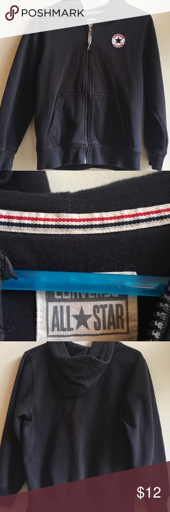 Converse Hoodie Converse Hoodie. Good Condition, Zipper is all good. Fits like a 10-12. Converse Jackets & Coats