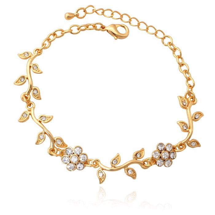 Romantic Flower Leaf Charms Chain Bracelet 18K Gold Plated Lady\'s ...