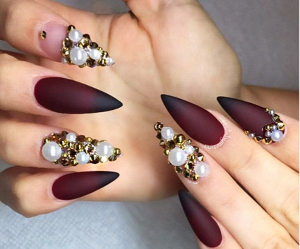 Maroon Matte Nail Design With Pearls Design Ideas Nail Art