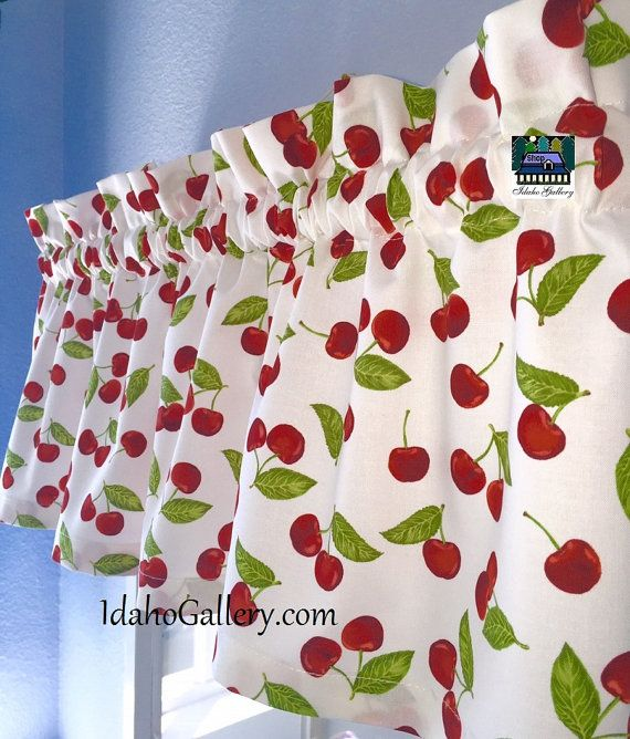 Cherry Valance Short Retro Decorative Kitchen Curtain