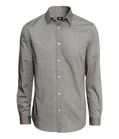a8c6b5916cbf Easy-iron Shirt in Gray | H&M US | XY Style | Shirts, Iron shirt ...