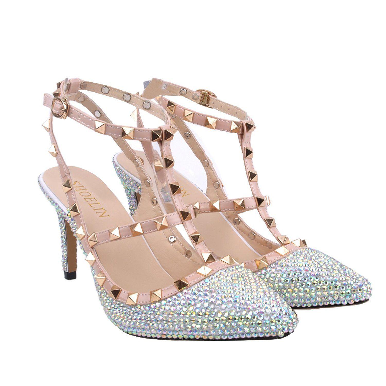 d3542801c3c99 Amazon.com   Silver Heels-Rhinestone, SHOELIN Women Handmade Crystal ...