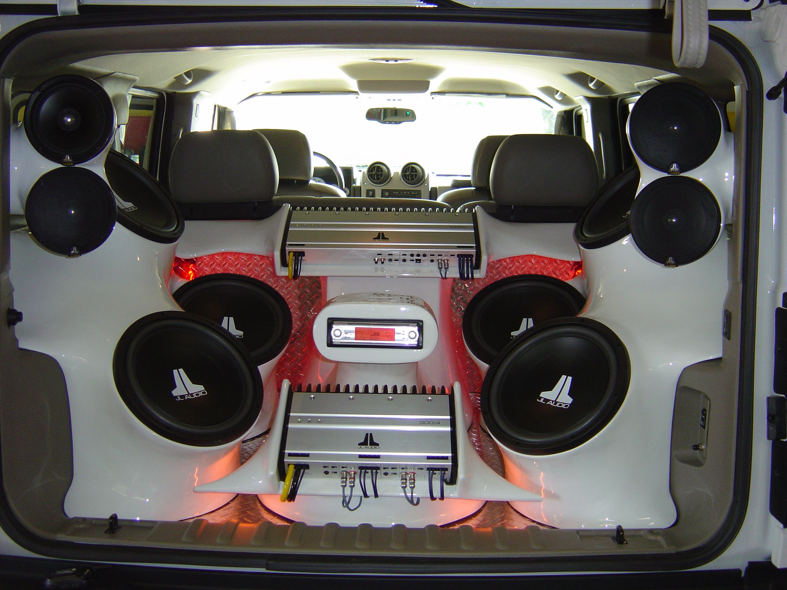 Jl audio sub s amps speakers in custom enclosure amp rack w rear stereo