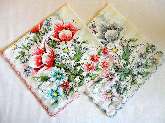 VINTAGE Hankies 1950s Two white cotton finished scalloped edges, same pattern, Tulips, Dasies, Lily of The Valley - pink, aqua, yelow, gray