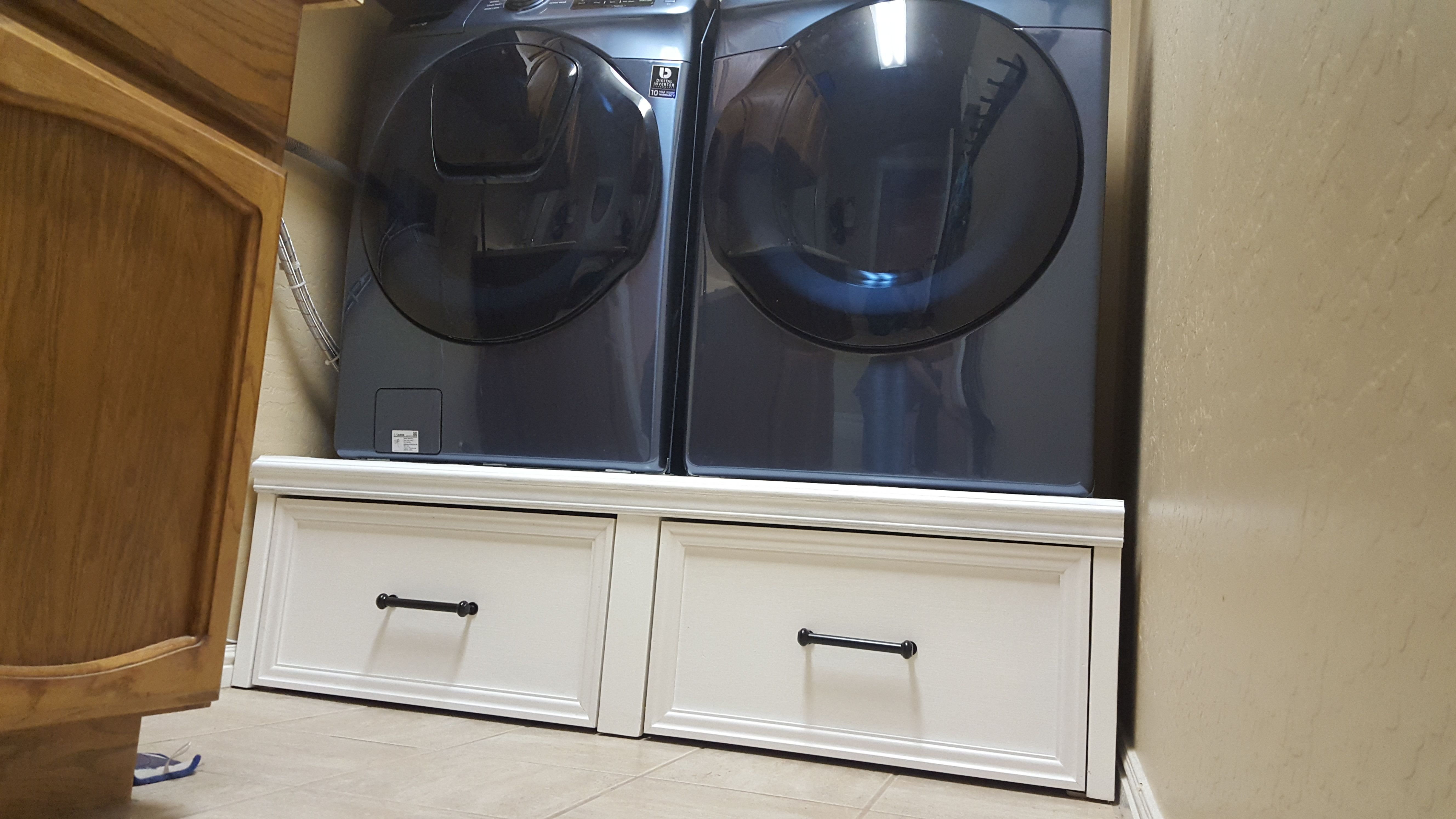 Ana white washerdryer pedestal with flush front drawers