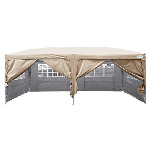 Quictent Silvox Waterproof 20x10 Ez Pop Up Canopy Commercial Gazebo Party Tent Beige Portable Removable Sides Tent Best Tents For Camping Family Tent Camping