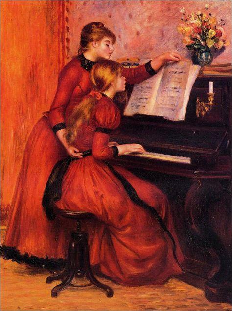 The Piano Lesson 1889 Renoir Em 2020 Pinturas De Renoir Arte