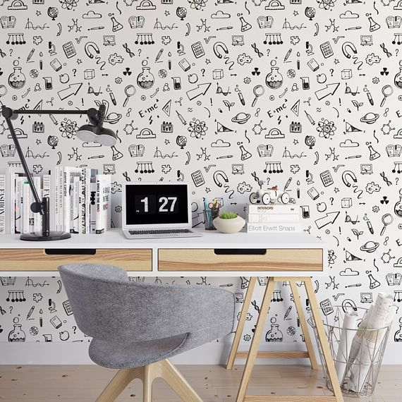 Illustrated swirls removable wallpaper / black and white