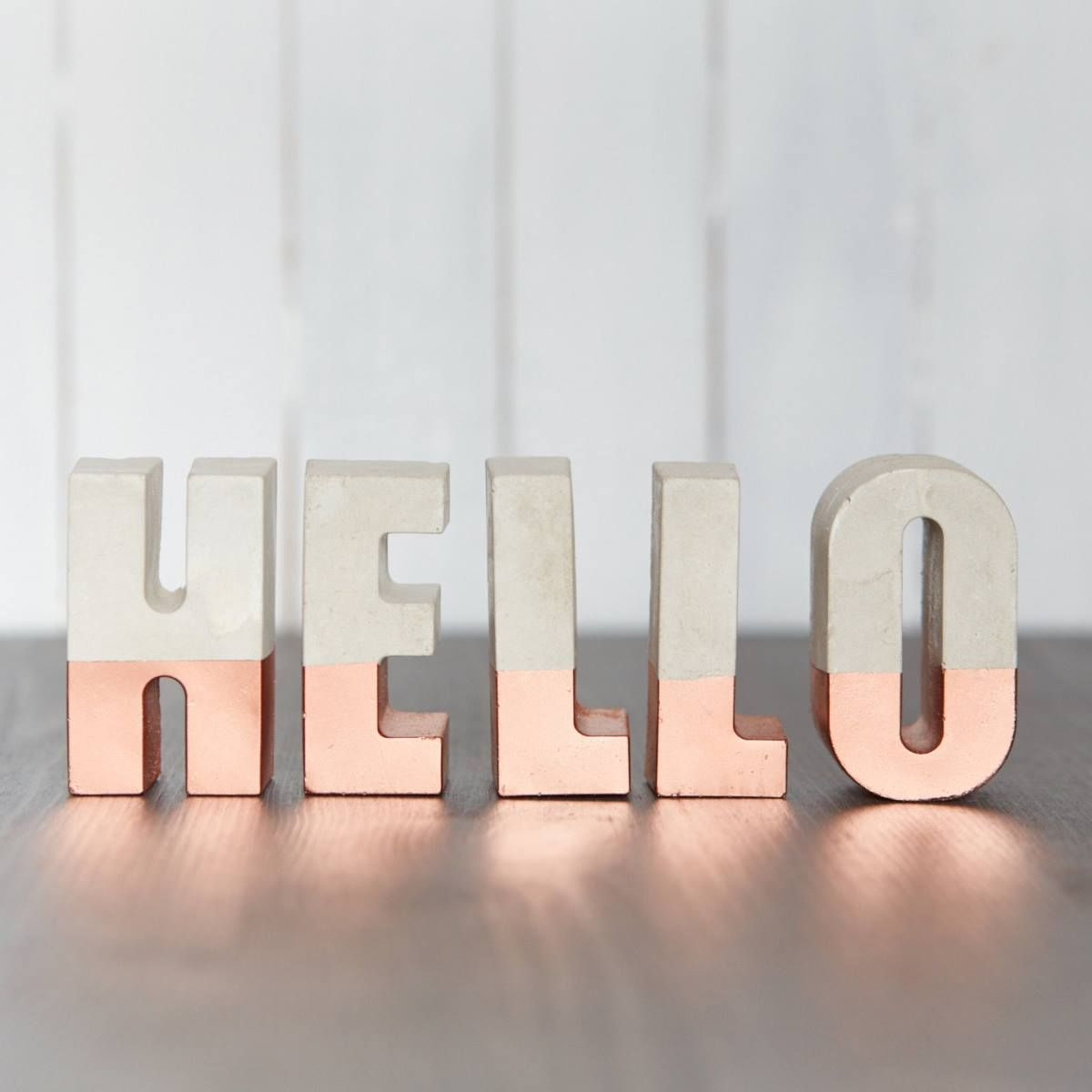 Hello letters, a combination of metalic and mate color