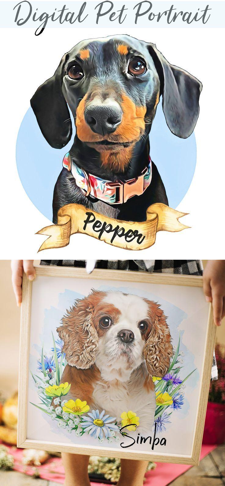 Digital Pet Portrait with flower,Custom dog portrait