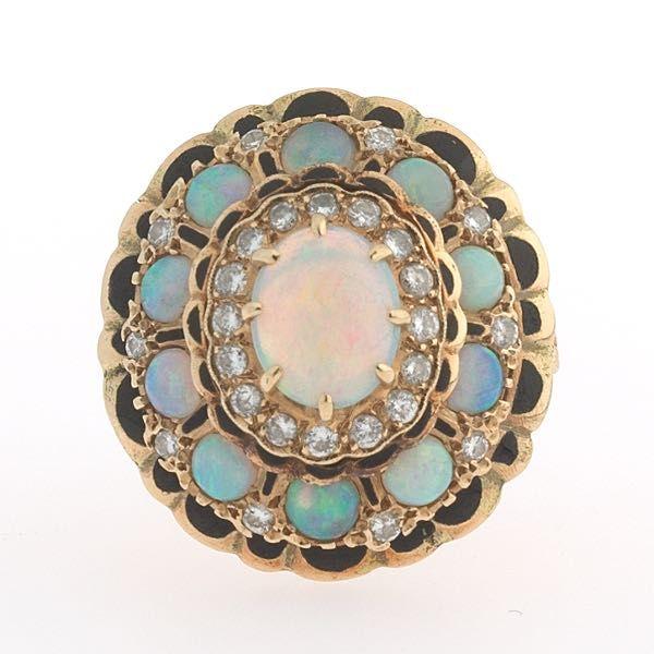 Victorian opal, enamel and diamond ring.