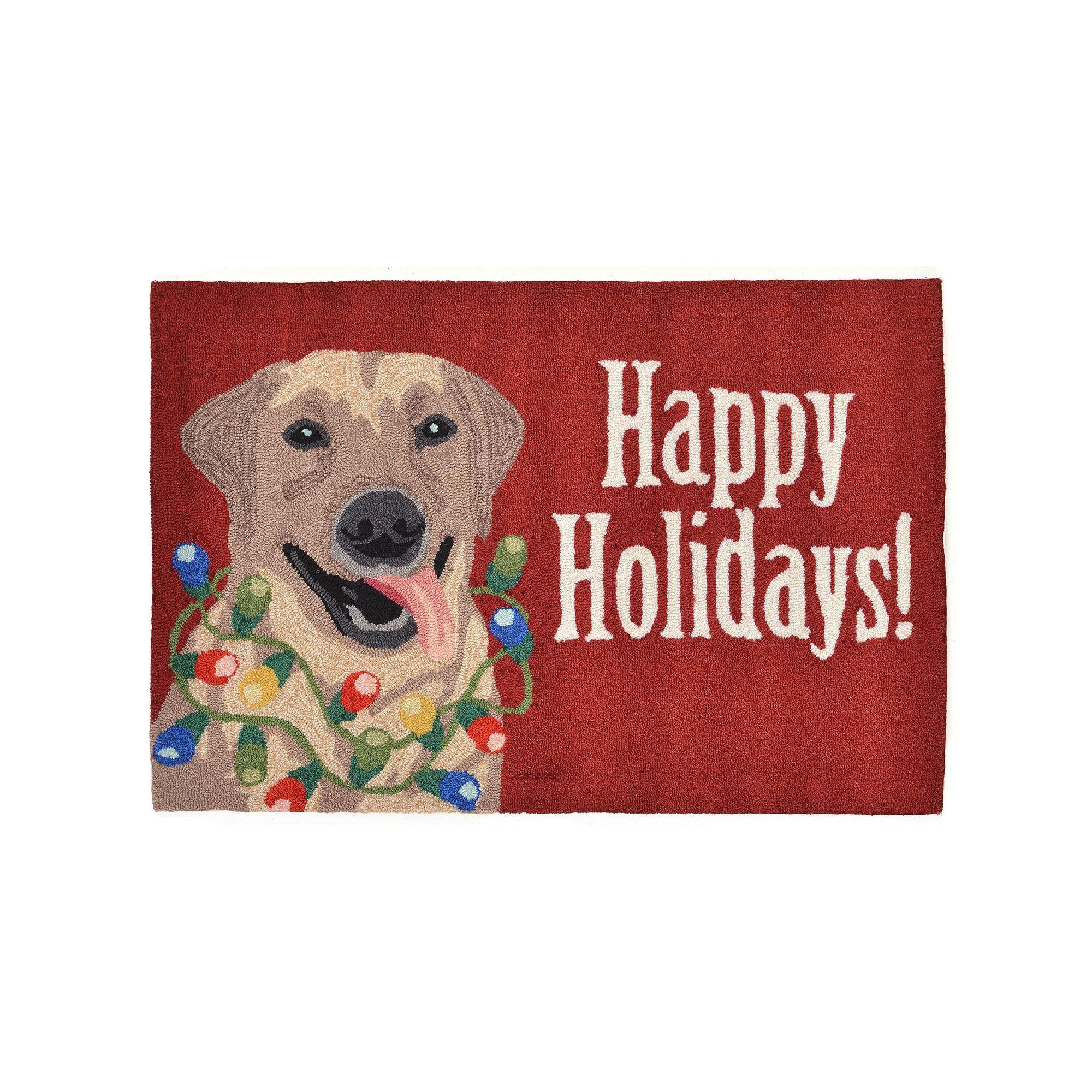 Liora Manne Frontporch Happy Holidays Indoor Outdoor Rug Red