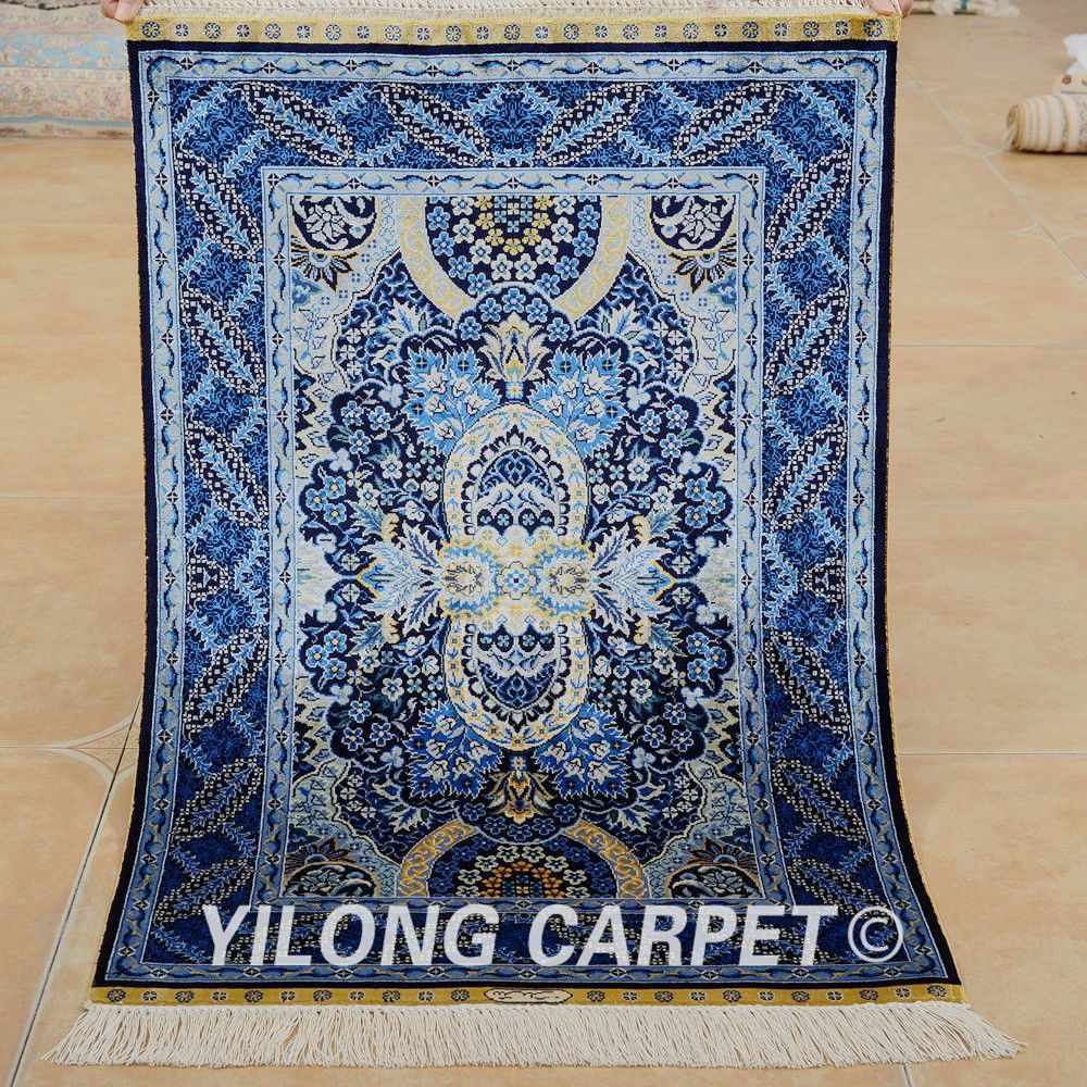 Yilong 2 X3 Persian Silk Carpet Dark Blue Handmade Exquisite Turkish Rug Patterns