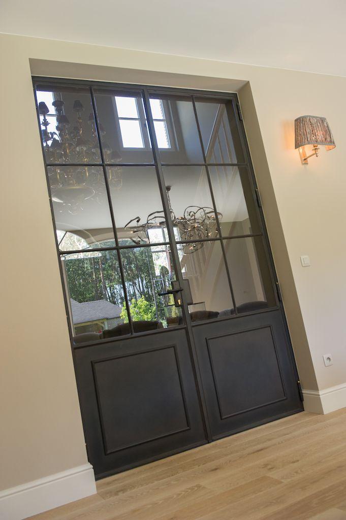Dubbele smeedijzeren deur ontwerp leen jacobs crejalee - Glazen salontafel en smeedijzer ...