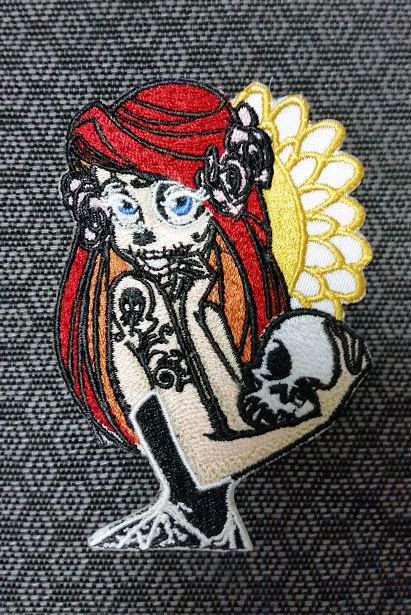 Tattooed Mermaid Day of Dead Embroidered Patch, Princess Altar Ego Patch, Skeleton Princess Patch, Mermaid Patch