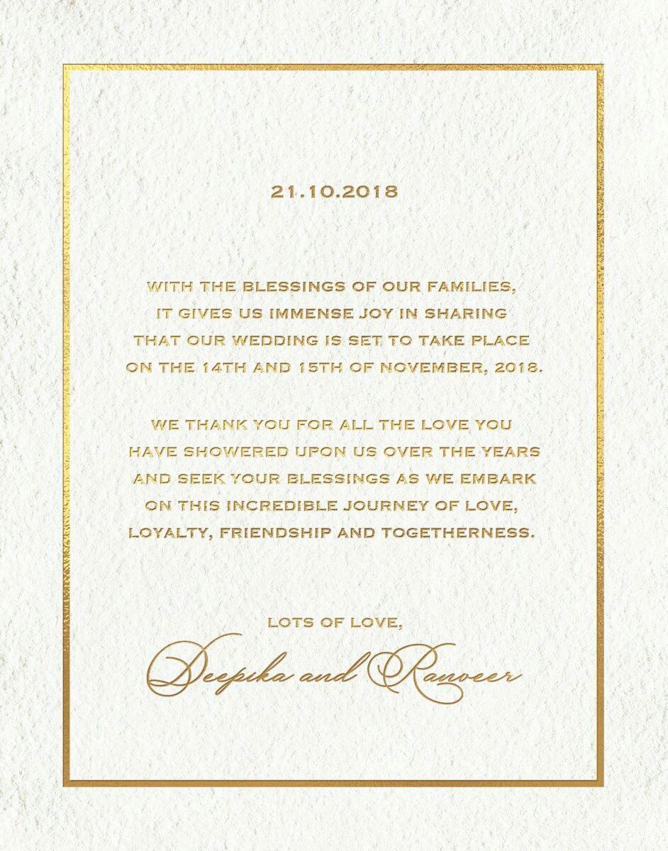 Pin By Blue Moon On Wedding Pics Of Deepveer Wedding Invitation Cards Deepika Padukone Big Wedding