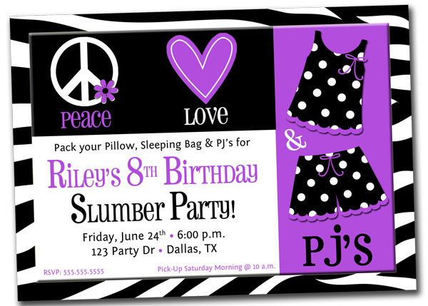 Printable Purple Zebra Pajama Slumber Sleepover Party Birthday