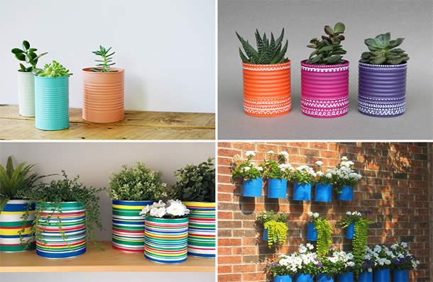 Pequenas hortas com latas coloridas
