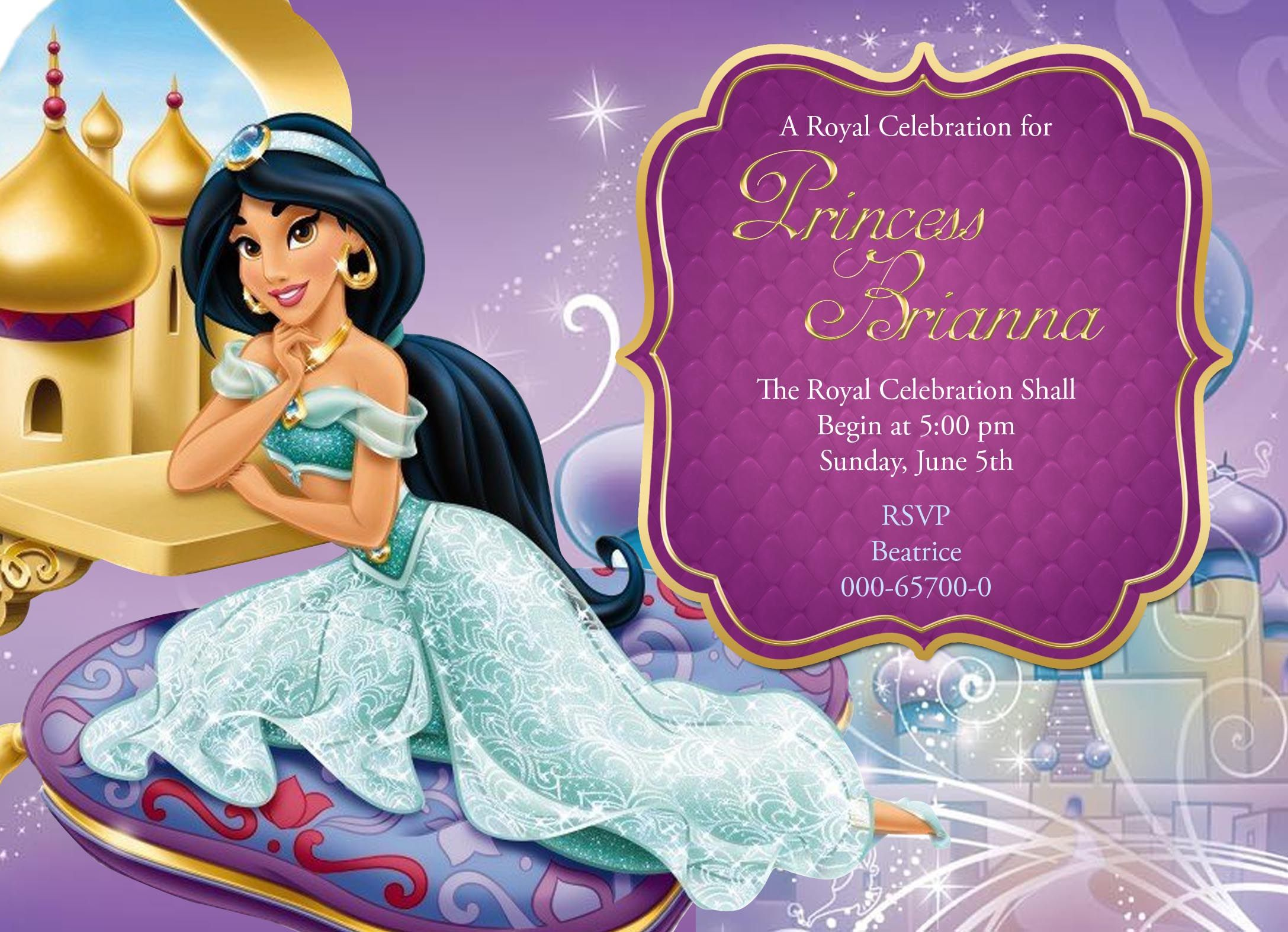 Disney Princess Jasmine birthday invitation card for more cards