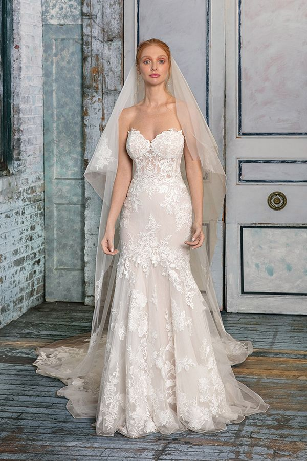 Strapless Lace Fit And Flare Wedding Dress Illusion Bodice With