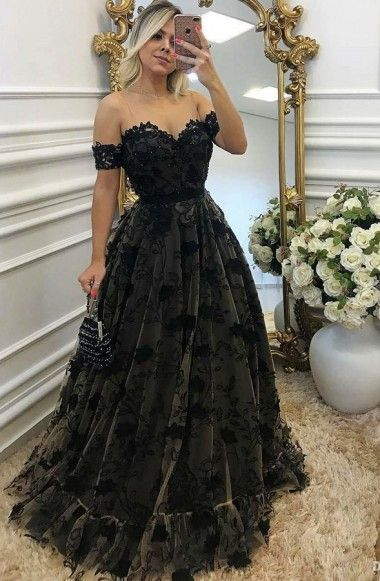 5854d3716a5 A-Line Off-the-Shoulder High Low Navy Blue Lace Prom Homecoming Dress