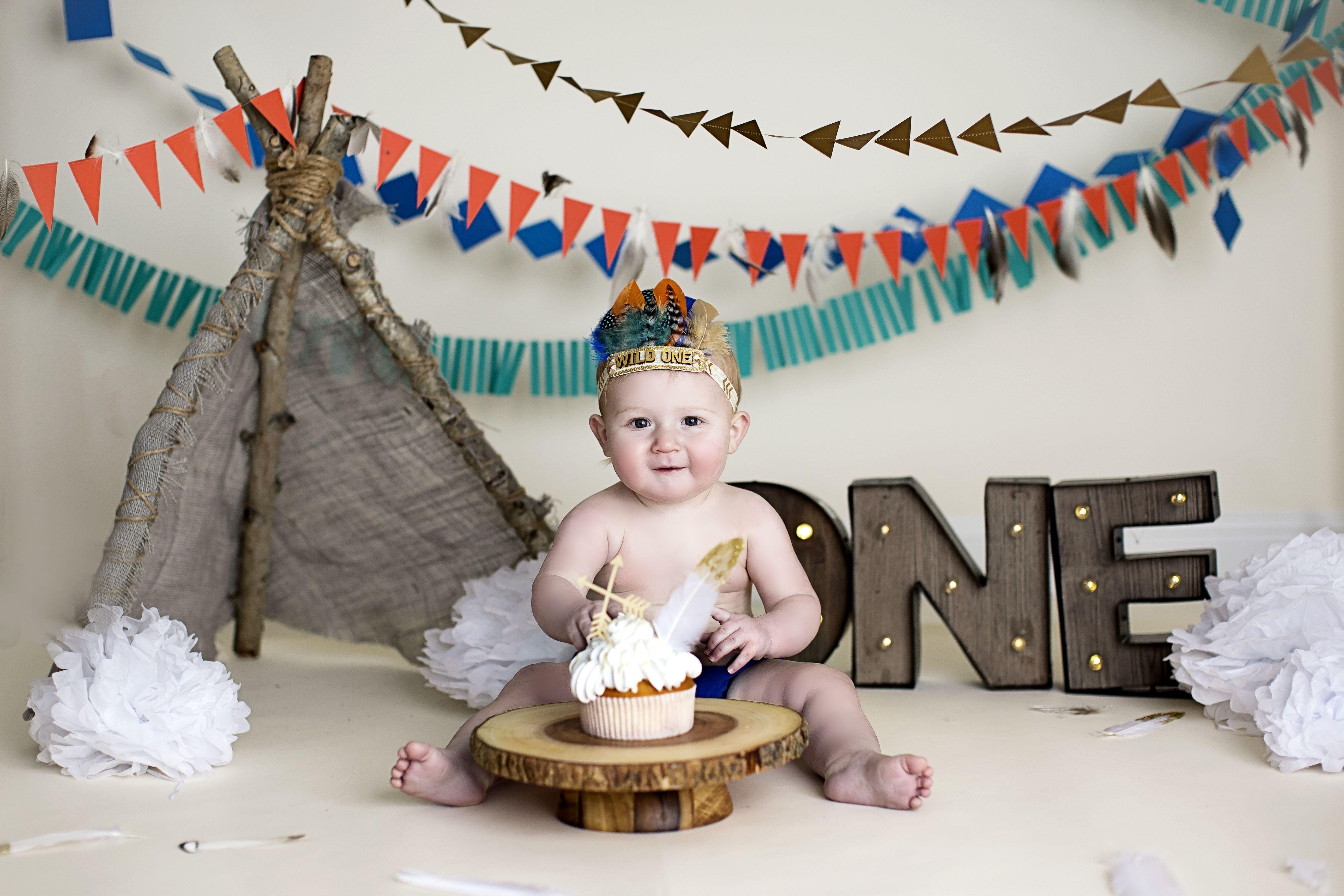 Southwest Cake Smash One Year Boy Photo Shoot Cake Smash Southwest Teepee Indian Fe Baby Boy Birthday Themes Boy Birthday Parties Indian Birthday Parties