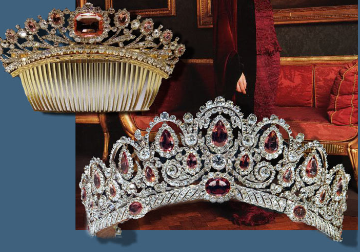 This hair comb and tiara originally belonged to Princess Ekatarina Pavlovna Bagration, née Skavronskaia (1783 - 1857) wife of Prince Peter Ivanovic Bagration (1765 - 1812), himself a descendant of the Bagration kings of Georgia, a distinguished General who died fighting for the Russian army at the battle of Borodino against Napoleon.